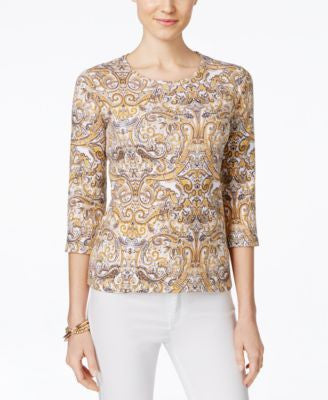 Charter Club Petite Paisley-Print Three-Quarter-Sleeve Top, Only at Vogily