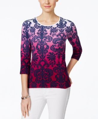 Charter Club Petite Damask-Print Three-Quarter-Sleeve Top, Only at Vogily