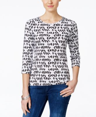 Charter Club Petite Bird-Print Three-Quarter-Sleeve Top, Only at Vogily