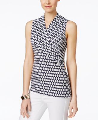 Charter Club Petite Sleeveless Printed Crossover Wrap Top, Only at Vogily