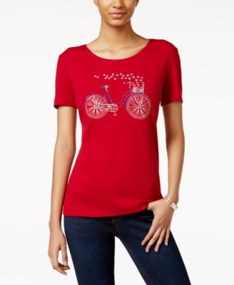 Karen Scott Petite Bicycle Graphic T-Shirt, Only at Vogily