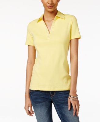 Karen Scott Petite Embellished Polo Shirt, Only at Vogily