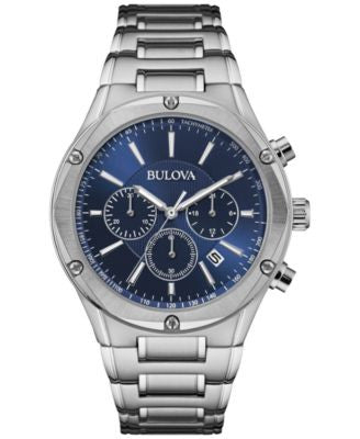 Bulova Men's Chronograph Stainless Steel Bracelet Watch 43mm 96B248