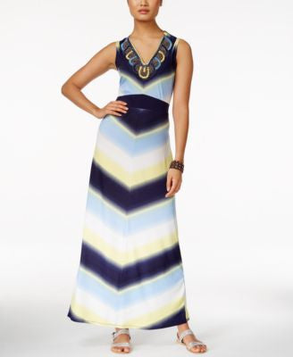 NY Collection Embellished Chevron-Print Maxi Dress