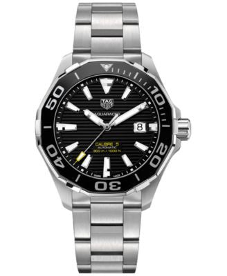 TAG Heuer Men's Swiss Aquaracer Calibre 5 Stainless Steel Bracelet Watch 43mm WAY201A.BA0927