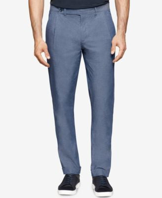 Calvin Klein Men's Slim-Fit Pleated Chambray Pants