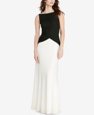Lauren Ralph Lauren Pintucked V-Back Gown