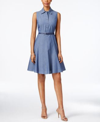 Nine West Pleated Denim Fit & Flare Shirtdress