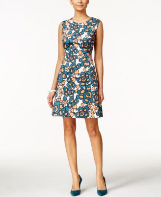 Nine West Sleeveless Printed Fit & Flare Dress