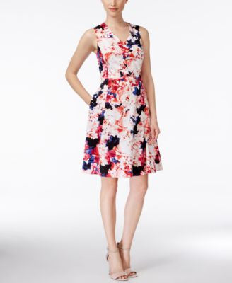 Nine West Sleeveless Floral-Print Fit & Flare Dress