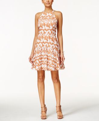Nine West Printed Halter Fit & Flare Dress