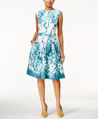 Nine West Boat-Neck Floral-Print Fit & Flare Dress