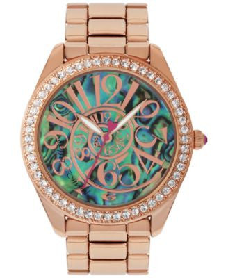 Betsey Johnson Women's Rose Gold-Tone Stainless Steel Bracelet Watch 40mm BJ00048-147
