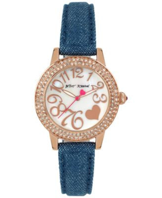 Betsey Johnson Women's Blue Denim Strap Watch 33mm BJ00251-11