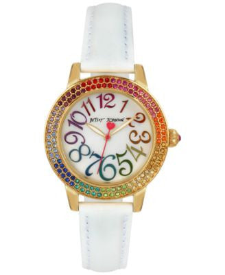 Betsey Johnson Women's White Leather Strap Watch 33mm BJ00251-13