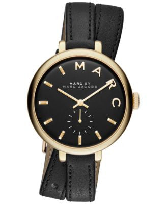 Marc Jacobs Women's Sally Black Double Wrap Leather Strap Watch 36mm MBM8663