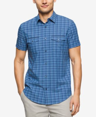 Calvin Klein Men's Short Sleeve Mini Heather Check Shirt