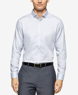 Calvin Klein Men's Dobby Basketweave Long-Sleeve Shirt
