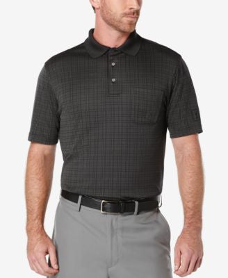 PGA TOUR Men's Windowpane Plaid Golf Polo