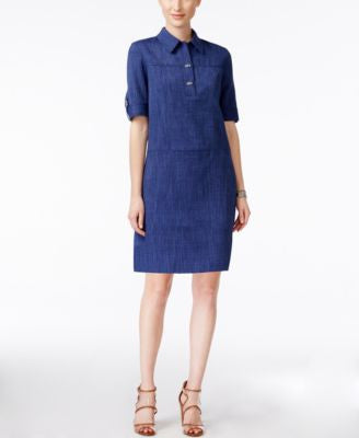 Tahari ASL Denim Tab-Sleeve Shirtdress