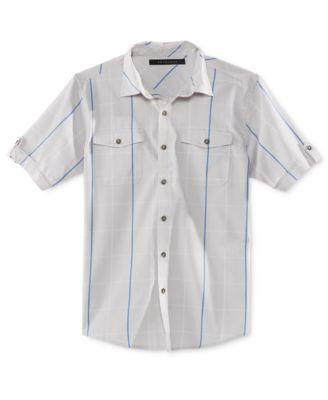 Sean John Men's Big & Tall Windowpane Check Short-Sleeve Shirt
