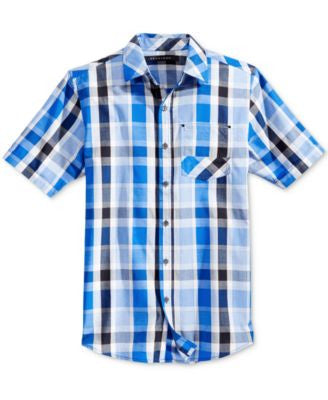 Sean John Men's Big & Tall Plaid Short-Sleeve Shirt