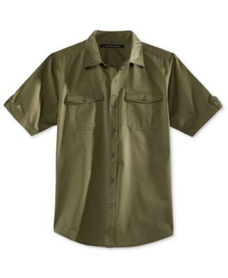 Sean John Men's Solid Button-Front Shirt