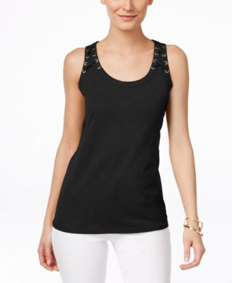 INC International Concepts Petite Lace-Up Tank Top, Only at Vogily
