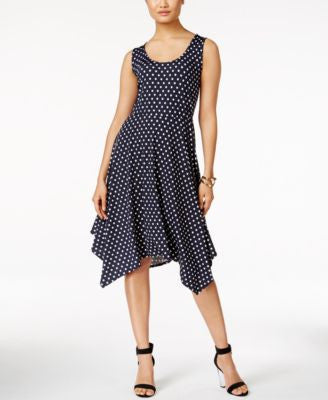 NY Collection Polka-Dot A-Line Handkerchief-Hem Dress