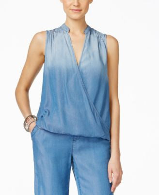 INC International Concepts Denim Faux-Wrap Top, Only at Vogily