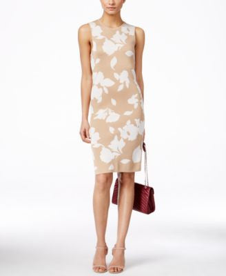 Anne Klein Floral-Print Sheath Sweater Dress