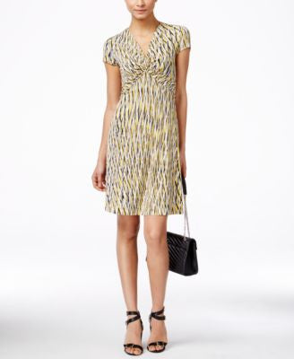 Anne Klein Printed Knot-Front Dress
