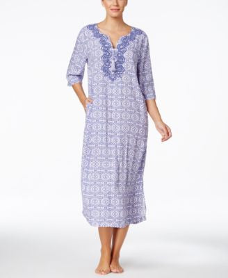 Charter Club Embroidered Printed Long Caftan, Only at Vogily