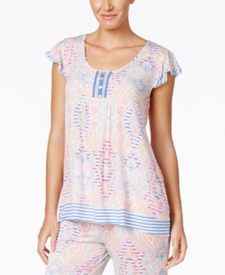 Ellen Tracy Flutter-Sleeve Pajama Top