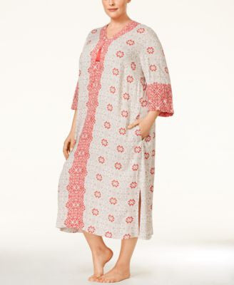 Charter Club Plus Size Printed Long Caftan, Only at Vogily