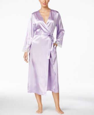Morgan Taylor Lace-Trim Long Satin Robe, Only at Vogily