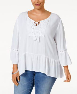 Eyeshadow Plus Size Ruffled Peasant Top
