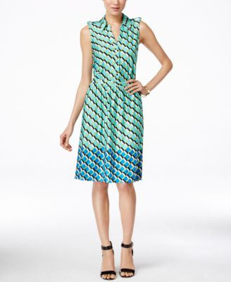 NY Collection Printed Sleeveless Shirtdress