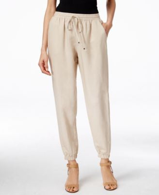 NY Collection Linen Drawstring Jogger Pants