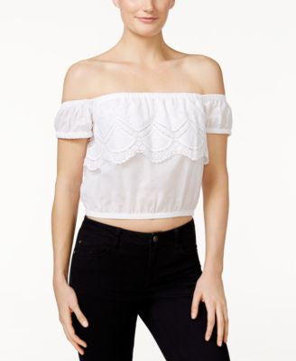 kensie Crochet Off-The-Shoulder Crop Top