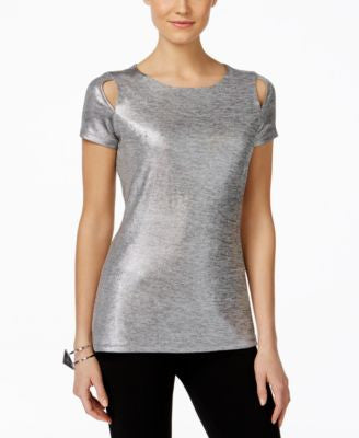 INC International Concepts Petite Metallic Cutout T-Shirt, Only at Vogily