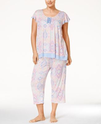Ellen Tracy Plus Size Ruffle-Sleeve Top & Capri Pajama Pants Sleep Separates
