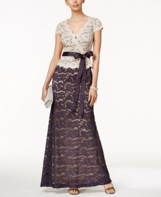 Adrianna Papell Petite Faux-Wrap Lace Gown
