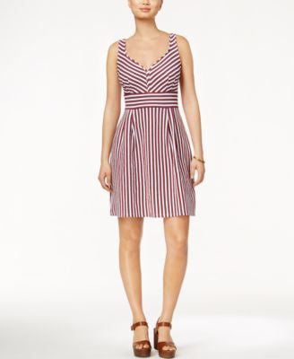 Maison Jules Sleeveless Striped Fit & Flare Dress, Only at Vogily