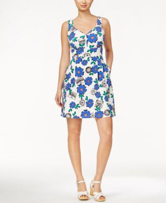 Maison Jules Sleeveless Floral-Print Fit & Flare Dress, Only at Vogily