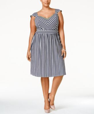 American Rag Trendy Plus Size Cap-Sleeve Striped Dress, Only at Vogily