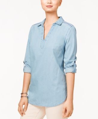 Tommy Hilfiger Roll-Tab-Sleeve Chambray Tunic