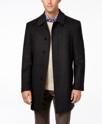 Lauren Ralph Lauren Jake Grey Herringbone Wool-Blend Overcoat