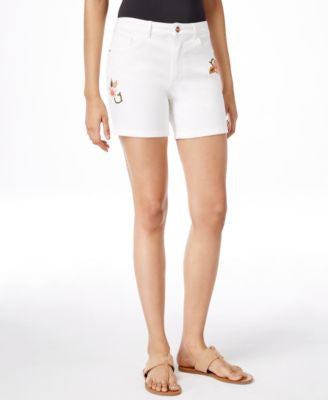 Nanette by Nanette Lepore Embroidered White Denim Bermuda Shorts, Only at Vogily