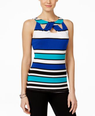 INC International Concepts Striped Cutout Top, Only at Vogily